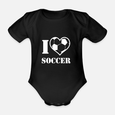 Work Out I love soccer football - Organic Short-Sleeved Baby Bodysuit
