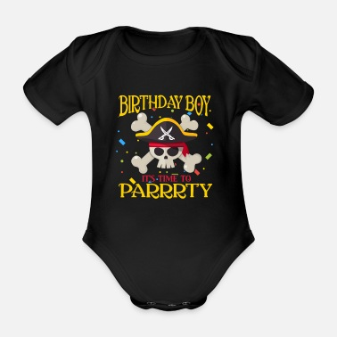 Pirate Pirate pirate pirate pirate head birthday - Organic Short-Sleeved Baby Bodysuit
