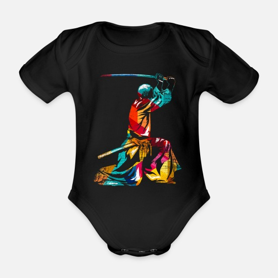 Martial Arts Baby Clothes - Kumdo Geombo Kendo gift - Organic Short-Sleeved Baby Bodysuit black