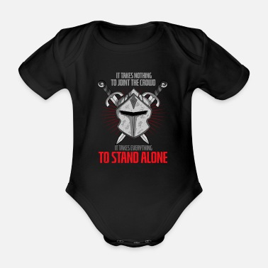 Crusader Knight Helmet Warrior Swordplay Medieval Festival - Organic Short-Sleeved Baby Bodysuit