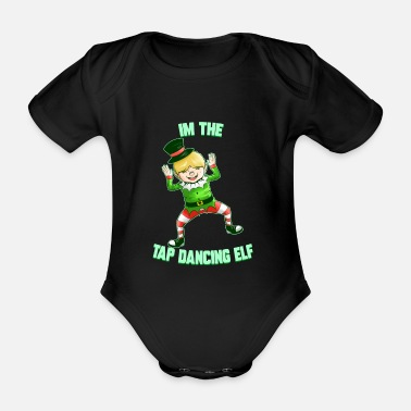 Male Dancer Tap dancing Elf dancing Christmas tap dancers - Organic Short-Sleeved Baby Bodysuit