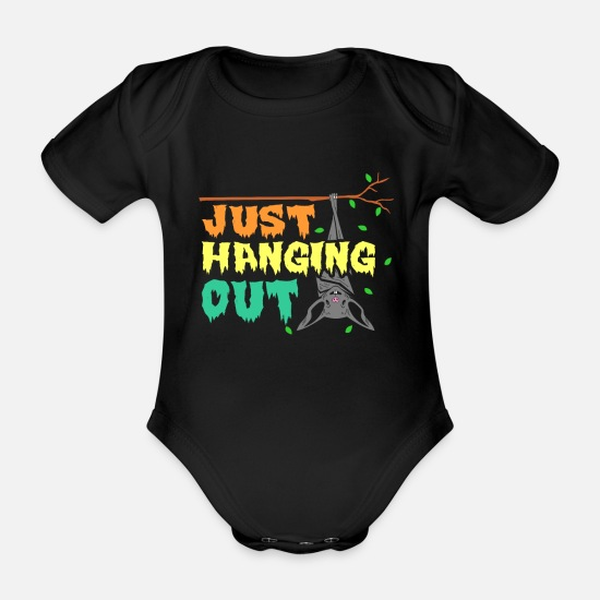 Gift Idea Baby Clothes - bat - Organic Short-Sleeved Baby Bodysuit black