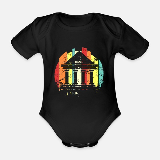 Gift Idea Baby Clothes - Banker banker banker banker - Organic Short-Sleeved Baby Bodysuit black