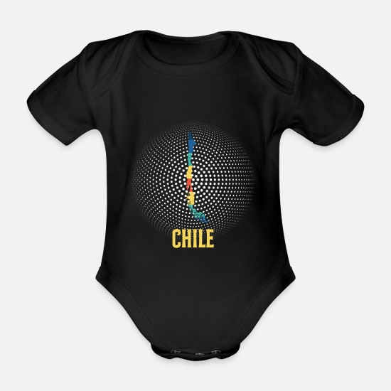 Travel Baby Clothes - Chile retro card art gift - Organic Short-Sleeved Baby Bodysuit black