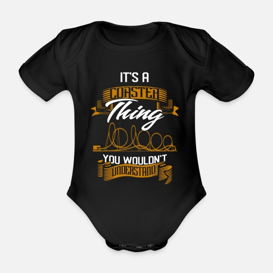 Roller Baby Clothes - roller coaster - Organic Short-Sleeved Baby Bodysuit black