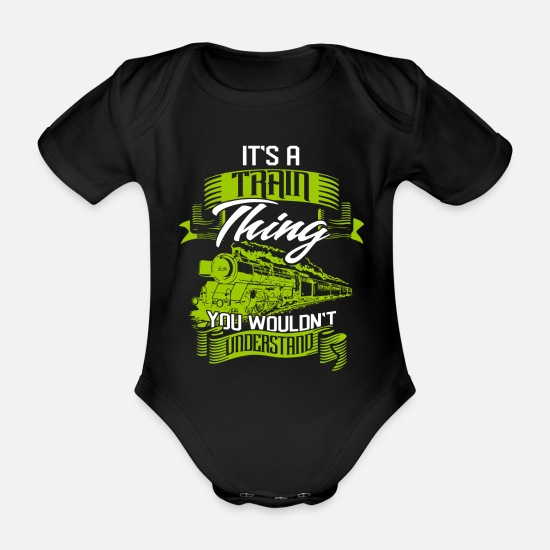 Train Driver Baby Clothes - train - Organic Short-Sleeved Baby Bodysuit black