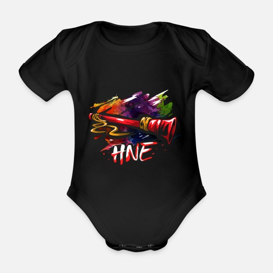 Burma Baby Clothes - Hne Hnae woodwind gift - Organic Short-Sleeved Baby Bodysuit black
