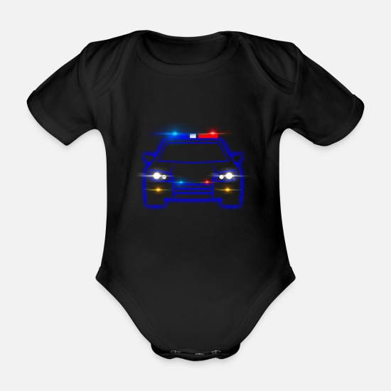 Gift Idea Baby Clothes - Police Policeman Police Car Gift Gift Idea - Organic Short-Sleeved Baby Bodysuit black