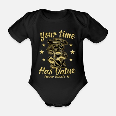 Hour Glass Hourglass time hour clock fantasy gothic - Organic Short-Sleeved Baby Bodysuit