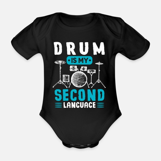 Birthday Baby Clothes - Drums - Organic Short-Sleeved Baby Bodysuit black