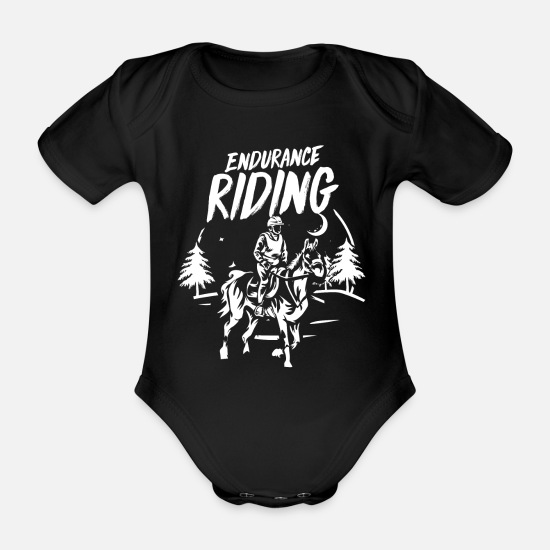 Horseshoe Baby Clothes - Eventing Military Eventing - Organic Short-Sleeved Baby Bodysuit black