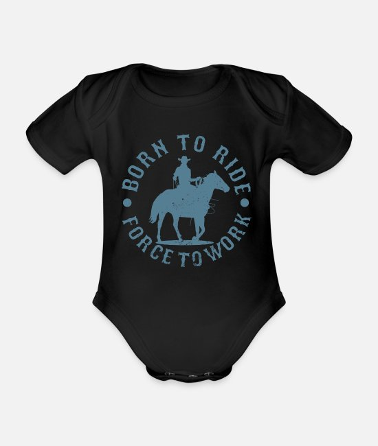 Ride A Horse Baby Bodysuits - Western riding - Organic Short-Sleeved Baby Bodysuit black