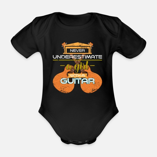 Gift Idea Baby Clothes - Guitar girl - Organic Short-Sleeved Baby Bodysuit black