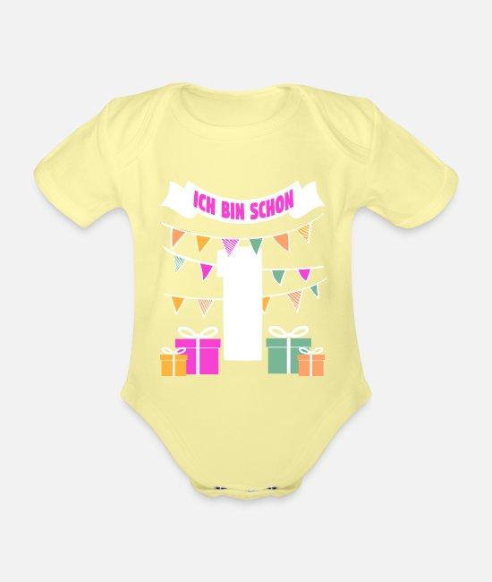 Birthday Baby Clothes - 1st birthday, first birthday, one year old - Organic Short-Sleeved Baby Bodysuit washed yellow
