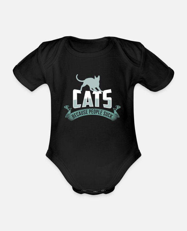 Father's Day Baby Bodysuits - Cats Because People Suck For Cat Lovers product - Organic Short-Sleeved Baby Bodysuit black