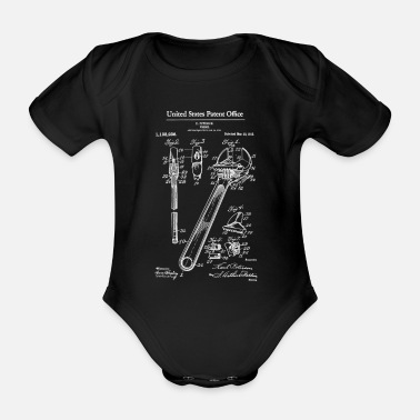 1915 Adjustable Wrench 1915 Patent Print Shirt, Wrench - Organic Short-Sleeved Baby Bodysuit