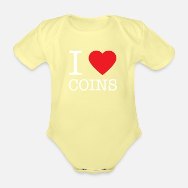Rare I lovecoins coin collector - numismatist gift - Organic Short-Sleeved Baby Bodysuit