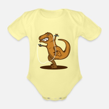 Motion T Rex Rope Funny Dinosaur Fan Gift - Organic Short-Sleeved Baby Bodysuit