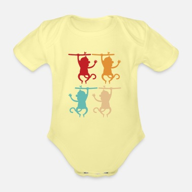 Chimpanzee monkey - Organic Short-Sleeved Baby Bodysuit