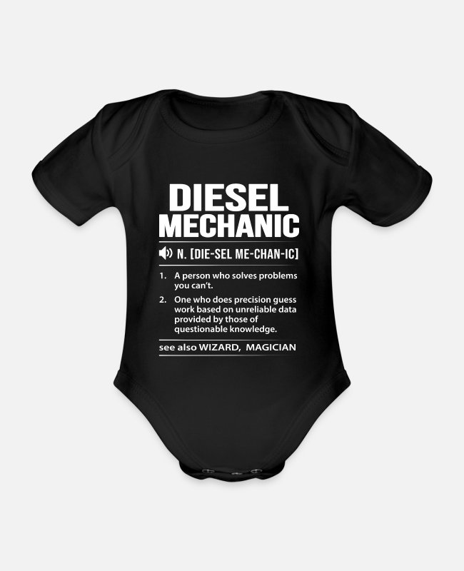 Mechaniker Baby Bodys - Diesel Power Diesel Mechaniker - Baby Bio Kurzarmbody Schwarz