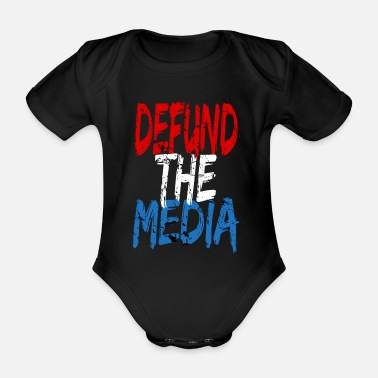 Media Defund the media - Organic Short-Sleeved Baby Bodysuit