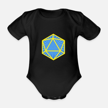 Dragon Yellow Blue Cube DnD - Organic Short-Sleeved Baby Bodysuit