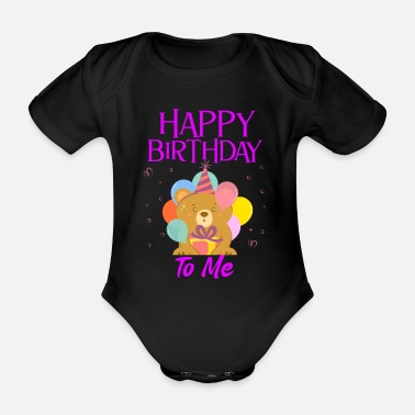 Birthday Greeting Happy birthday greeting saying - Organic Short-Sleeved Baby Bodysuit