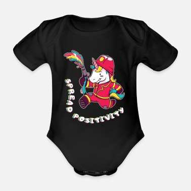 Fire Fighter Fire department unicorn - Organic Short-Sleeved Baby Bodysuit