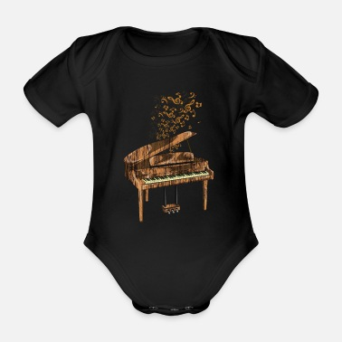 Rock Piano classical music - Organic Short-Sleeved Baby Bodysuit