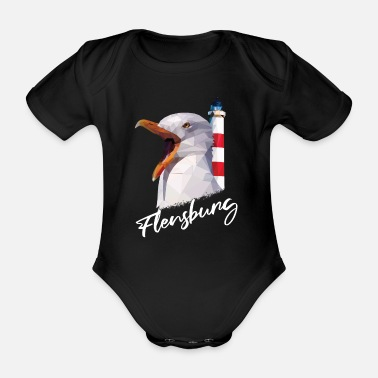 Maritime Flensburg Baltic Sea coast vacation home gift - Organic Short-Sleeved Baby Bodysuit