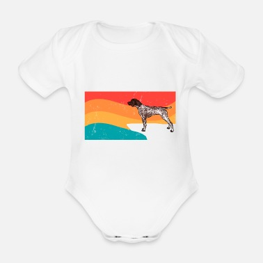 German Tails On Trails German Shorthaired Pointer Dog Fun - Organic Short-Sleeved Baby Bodysuit