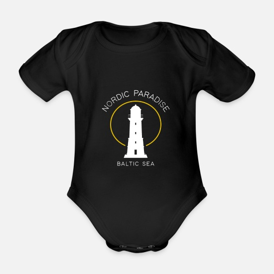 Camping Baby Clothes - Baltic Sea sea north - Organic Short-Sleeved Baby Bodysuit black