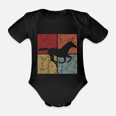 Club Horse Retro Pony Rider Equestrian Equestrian Riding - Organic Short-Sleeved Baby Bodysuit