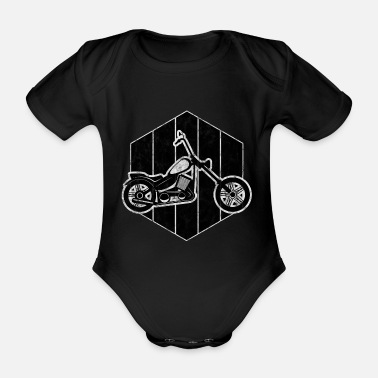 V Biker Motorcyclist Bobber Retro Chopper Motorcycle - Organic Short-Sleeved Baby Bodysuit