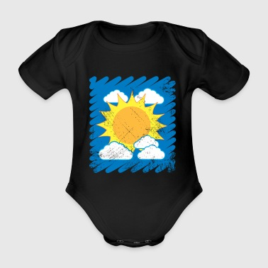 Child drawing drawing sun clouds sky - Organic Short-sleeved Baby Bodysuit