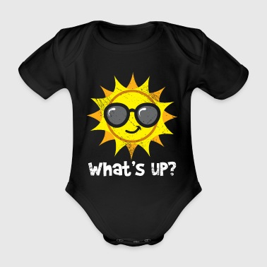 Sun with sunglasses Whats up kids - Organic Short-sleeved Baby Bodysuit