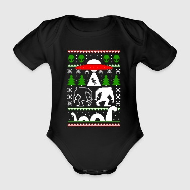 UFO Alien Bigfoot Loch Ness Ugly Christmas Sweater - Organic Short-sleeved Baby Bodysuit