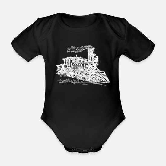 Gift Idea Baby Clothes - train - Organic Short-Sleeved Baby Bodysuit black