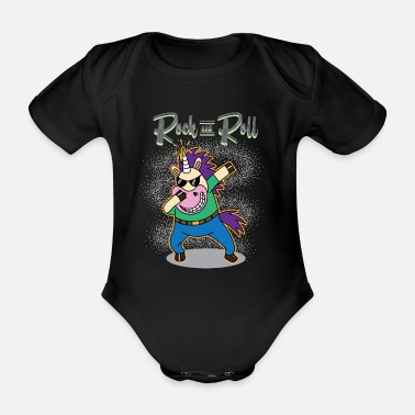 Rock N Roll Rock and roll unicorn T-shirt för rockare - Ekologisk kortärmad babybody