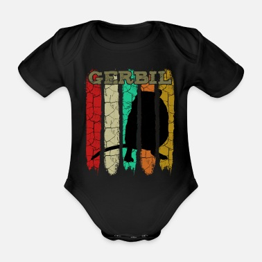 Rodent Retro Style Vintage Gerbil | Gerbils gift - Organic Short-sleeved Baby Bodysuit
