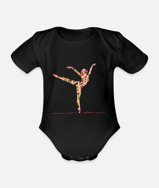 Fake Baby Bodysuits - Prima ballerina made of colorful stripes while dancing - Organic Short-Sleeved Baby Bodysuit black