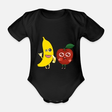 Bit Sweet Apple Banana Funny Tasty Tasty Fruit - Ekologisk kortärmad babybody