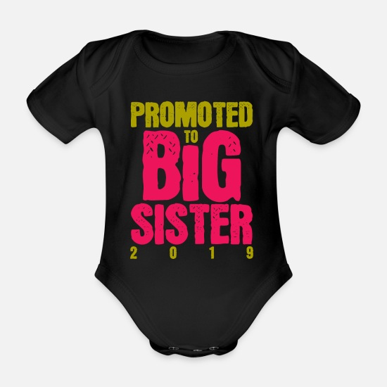 Announcement Baby Clothes - Announcement of pregnancy - Organic Short-Sleeved Baby Bodysuit black