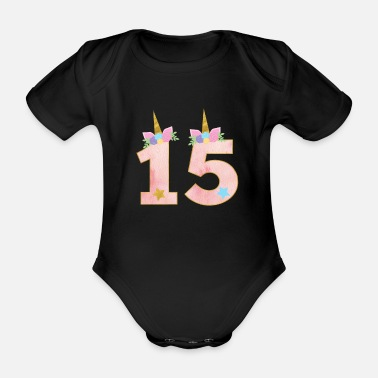Antal 15 år unicorn 15th birthday girl present - Ekologisk kortärmad babybody