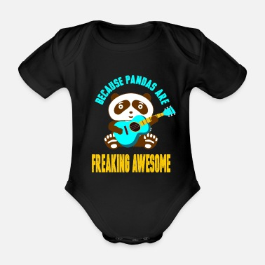 Fur Panda Guitar Music Musician Animal China Gift - Organic Short-Sleeved Baby Bodysuit