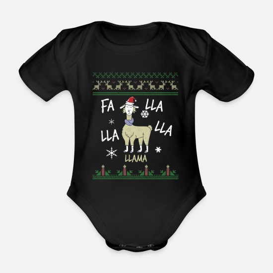 Song Baby Clothes - Fa Llama Ugly Sweater Christmas Holiday Song Party - Organic Short-Sleeved Baby Bodysuit black
