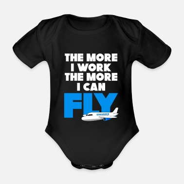 Extreme Sports Plane work trip - Organic Short-Sleeved Baby Bodysuit