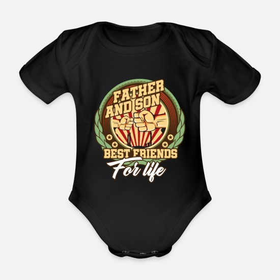 Gift Idea Baby Clothes - Daddy son - Organic Short-Sleeved Baby Bodysuit black