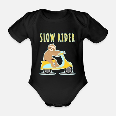 Koppla Av Sloth Lazy Driving Scooter Motorcycle - Ekologisk kortärmad babybody