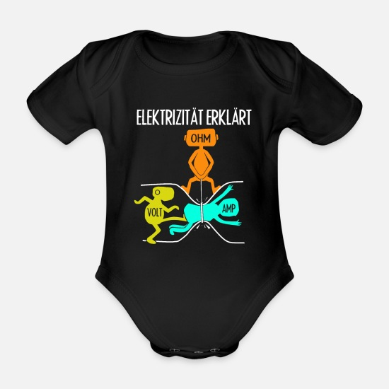 Amper Baby Clothes - Electrician craftsman saying - Organic Short-Sleeved Baby Bodysuit black